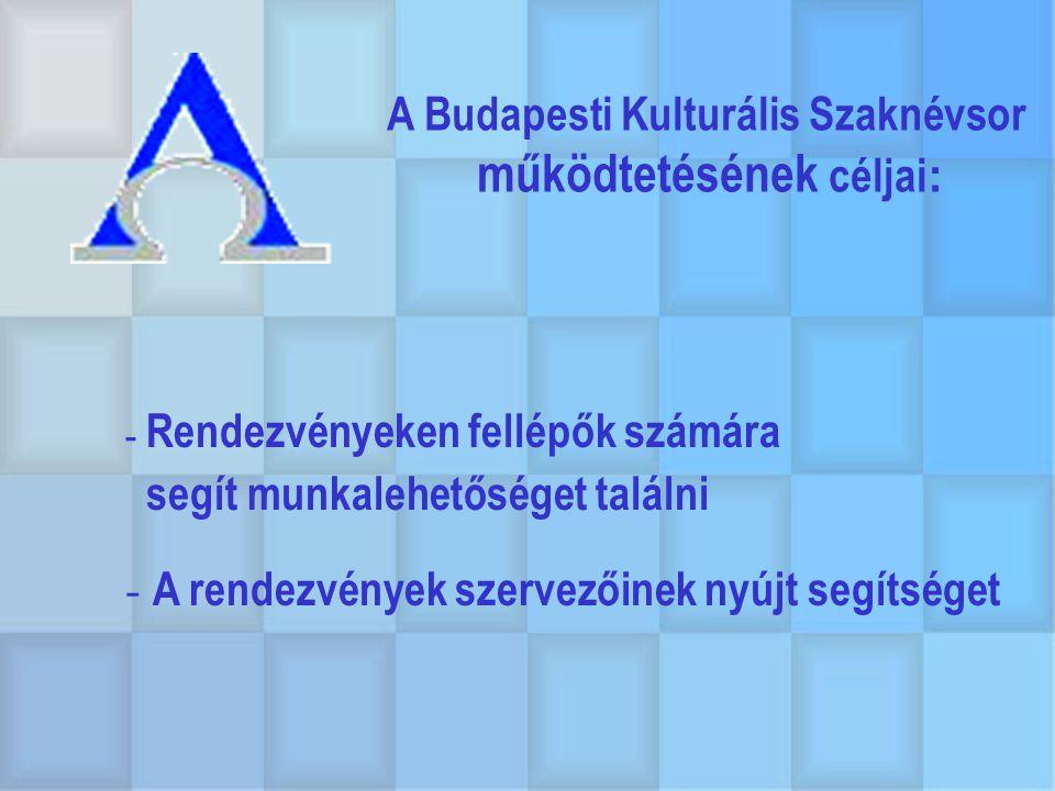 A Budapesti Kulturális Szaknévsor működtetésének céljai : - Rendezvényeken fellépők számára segít munkalehetőséget találni - A rendezvények szervezőin