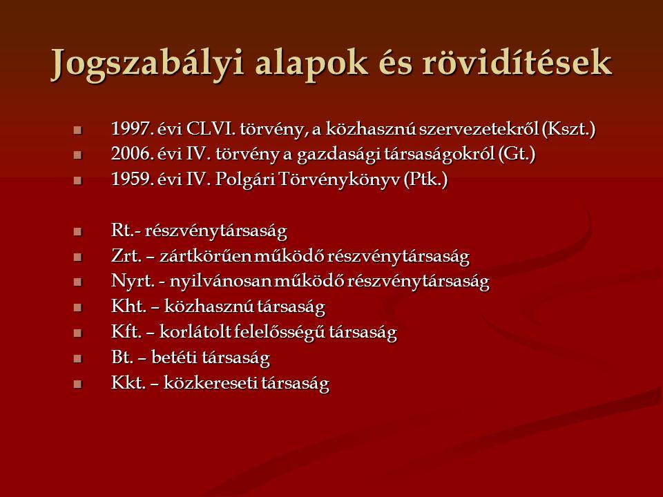 Jogszabályi alapok és rövidítések 1997. évi CLVI. törvény, a közhasznú szervezetekről (Kszt.) 1997. évi CLVI. törvény, a közhasznú szervezetekről (Ksz