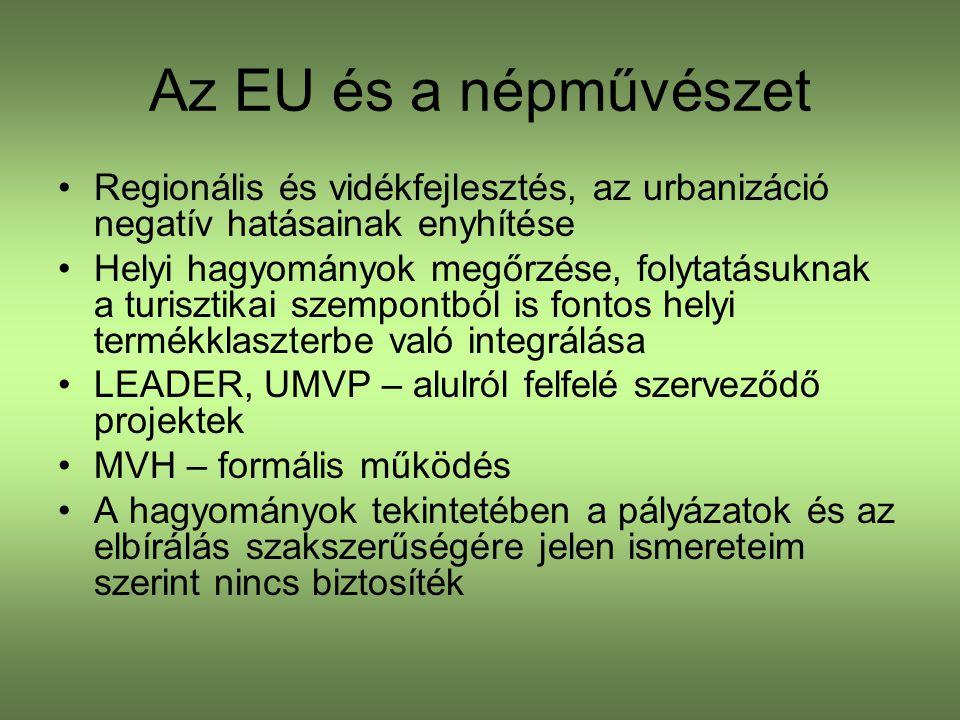 Az EU és a népművészet Regionális és vidékfejlesztés, az urbanizáció negatív hatásainak enyhítése Helyi hagyományok megőrzése, folytatásuknak a turisztikai szempontból is fontos helyi termékklaszterbe való integrálása LEADER, UMVP – alulról felfelé szerveződő projektek MVH – formális működés A hagyományok tekintetében a pályázatok és az elbírálás szakszerűségére jelen ismereteim szerint nincs biztosíték