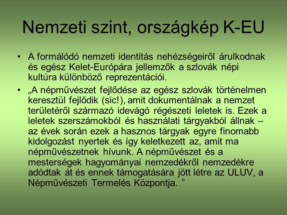Nemzeti szint, országkép K-EU A formálódó nemzeti identitás nehézségeiről árulkodnak és egész Kelet-Európára jellemzők a szlovák népi kultúra különböző reprezentációi.