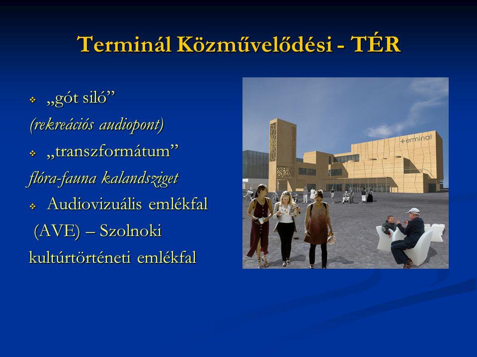 """Terminál Közművelődési - TÉR  """"gót siló"""" (rekreációs audiopont)  """"transzformátum"""" flóra-fauna kalandsziget  Audiovizuális emlékfal (AVE) – Szolnoki"""