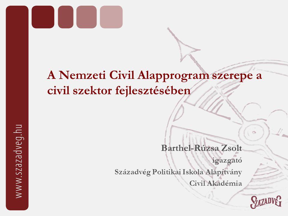 A Nemzeti Civil Alapprogram szerepe a civil szektor fejlesztésében Barthel-Rúzsa Zsolt igazgató Századvég Politikai Iskola Alapítvány Civil Akadémia