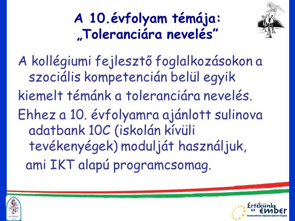 """A 10.évfolyam témája: """"Toleranciára nevelés A kollégiumi fejlesztő foglalkozásokon a szociális kompetencián belül egyik kiemelt témánk a toleranciára nevelés."""