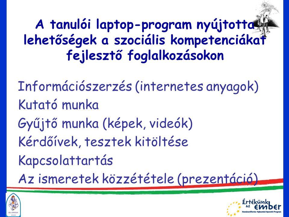 A tanulói laptop-program nyújtotta lehetőségek a szociális kompetenciákat fejlesztő foglalkozásokon Információszerzés (internetes anyagok) Kutató munka Gyűjtő munka (képek, videók) Kérdőívek, tesztek kitöltése Kapcsolattartás Az ismeretek közzététele (prezentáció)