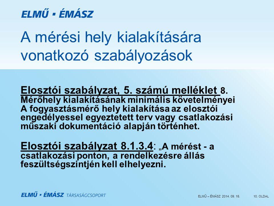 ELMŰ – ÉMÁSZ 2014. 09. 15.10. OLDAL A mérési hely kialakítására vonatkozó szabályozások Elosztói szabályzat, 5. számú melléklet 8. Mérőhely kialakítás