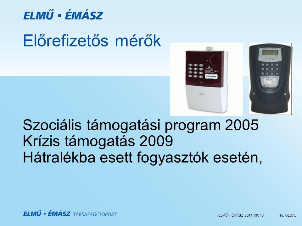 ELMŰ – ÉMÁSZ 2014. 09. 15.15. OLDAL Előrefizetős mérők Szociális támogatási program 2005 Krízis támogatás 2009 Hátralékba esett fogyasztók esetén,