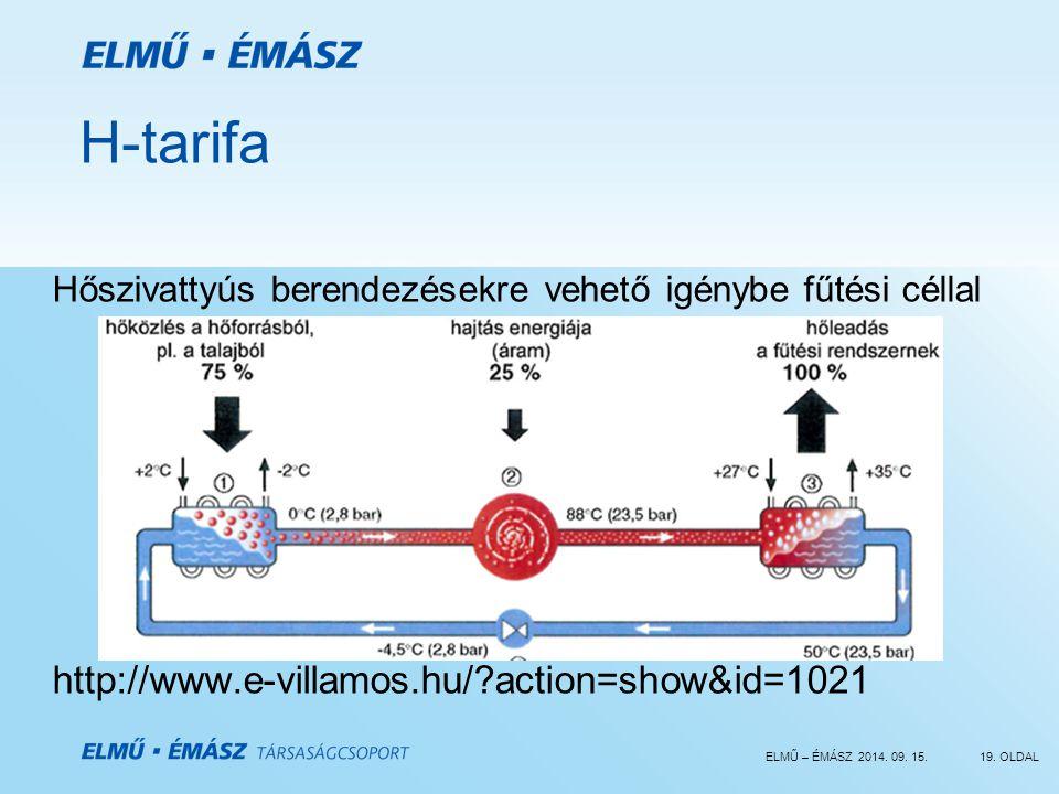 ELMŰ – ÉMÁSZ 2014. 09. 15.19. OLDAL H-tarifa Hőszivattyús berendezésekre vehető igénybe fűtési céllal http://www.e-villamos.hu/?action=show&id=1021