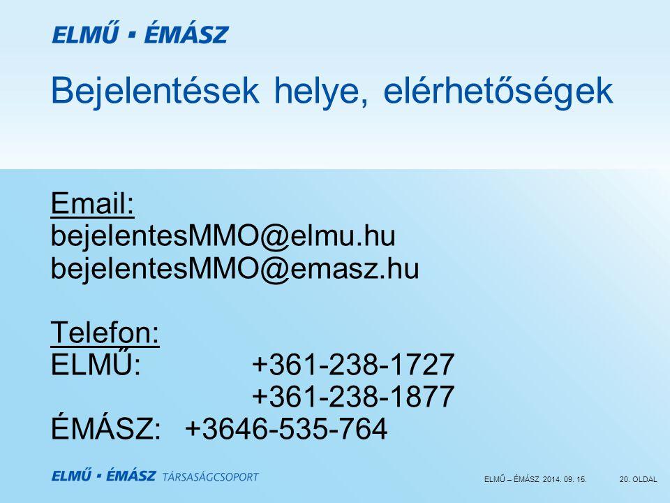 ELMŰ – ÉMÁSZ 2014. 09. 15.20. OLDAL Bejelentések helye, elérhetőségek Email: bejelentesMMO@elmu.hu bejelentesMMO@emasz.hu Telefon: ELMŰ: +361-238-1727