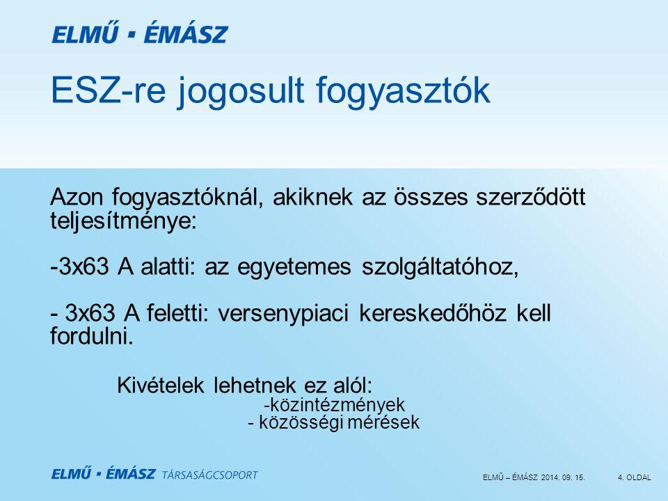 ELMŰ – ÉMÁSZ 2014. 09. 15.4. OLDAL ESZ-re jogosult fogyasztók Azon fogyasztóknál, akiknek az összes szerződött teljesítménye: -3x63 A alatti: az egyet