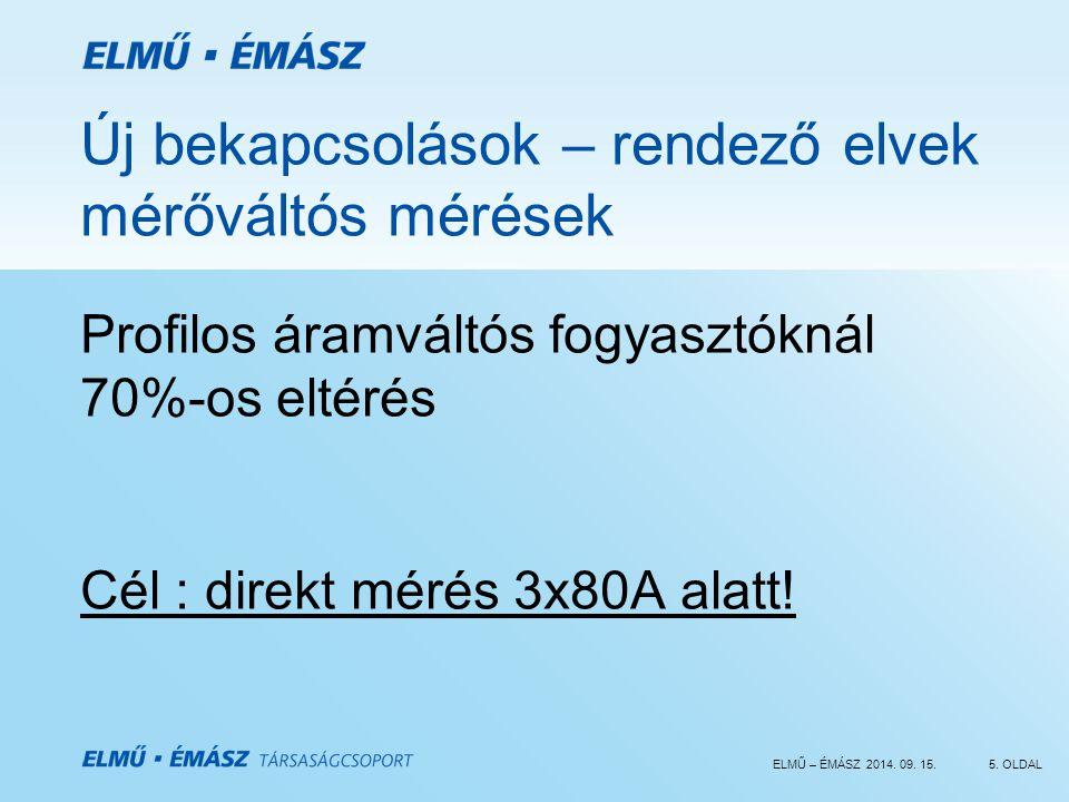 ELMŰ – ÉMÁSZ 2014. 09. 15.5. OLDAL Új bekapcsolások – rendező elvek mérőváltós mérések Profilos áramváltós fogyasztóknál 70%-os eltérés Cél : direkt m