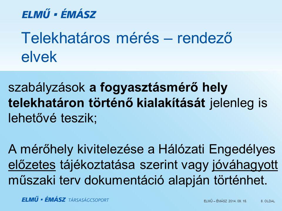 ELMŰ – ÉMÁSZ 2014. 09. 15.8. OLDAL Telekhatáros mérés – rendező elvek szabályzások a fogyasztásmérő hely telekhatáron történő kialakítását jelenleg is