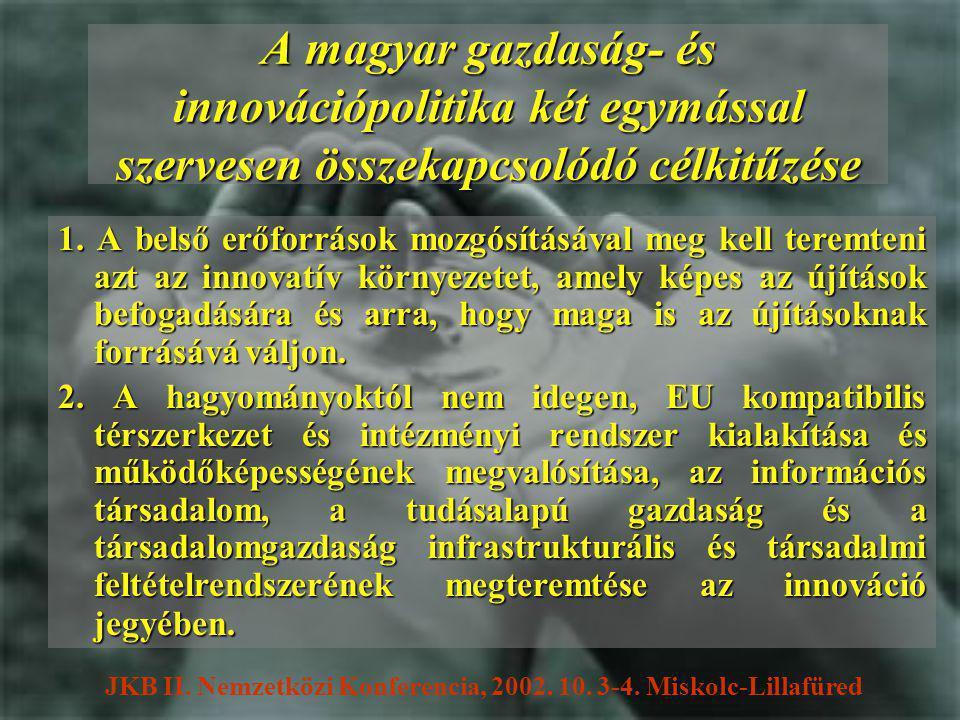 A magyar gazdaság- és innovációpolitika két egymással szervesen összekapcsolódó célkitűzése 1.