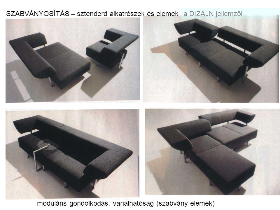 a DIZÁJN kapcsolata művészeti stílusokkal AVANTGÁRD BAUHAUS KONSTRUKTIVIZMUS FUNKCIONALIZMUS Rietveld: Piros/kék szék, 1920 k.