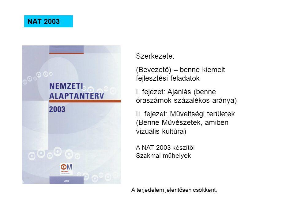 NAT 2003 Ajánlás a NAT műveltségi területek százalékos arányaira Műveltségi területek 1-4.5-6.7-8.9-10.11-12.