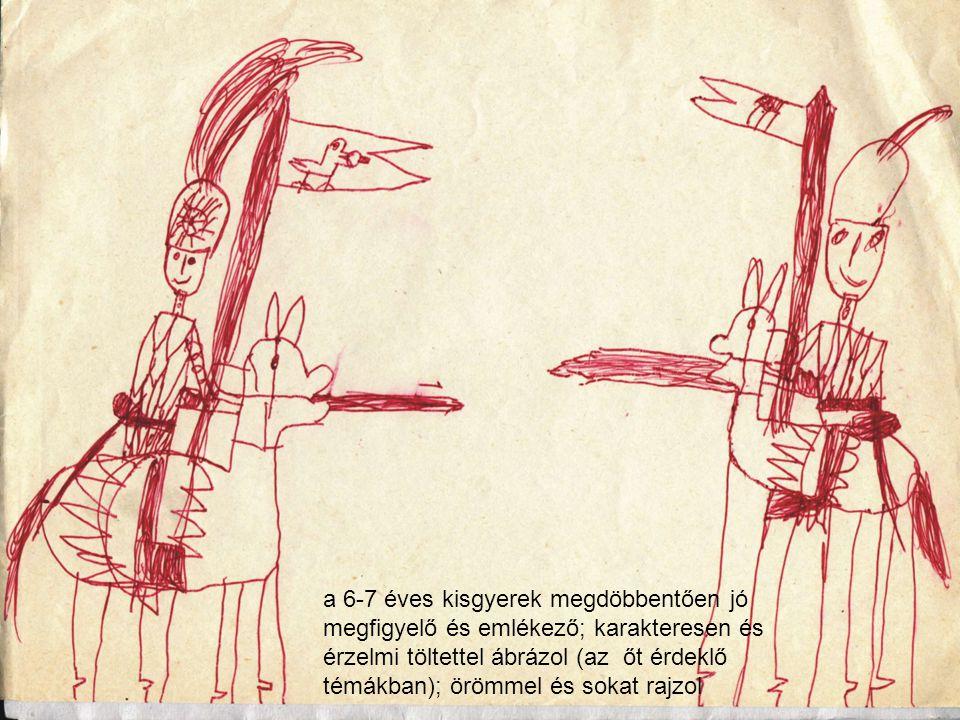 a 6-7 éves kisgyerek megdöbbentően jó megfigyelő és emlékező; karakteresen és érzelmi töltettel ábrázol (az őt érdeklő témákban); örömmel és sokat rajzol