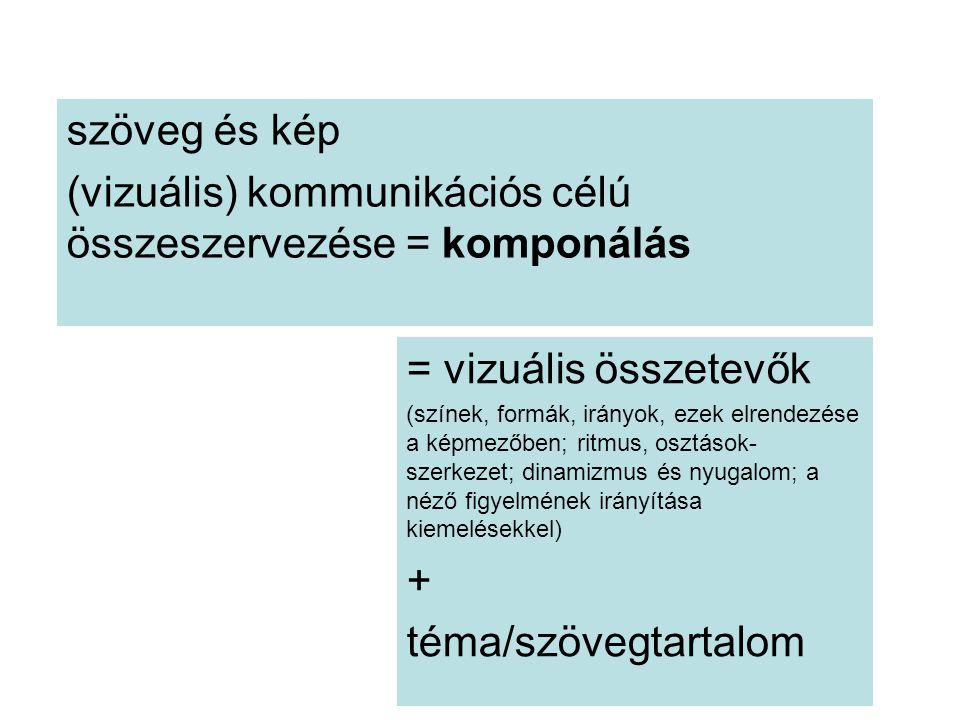 szöveg és kép (vizuális) kommunikációs célú összeszervezése = komponálás = vizuális összetevők (színek, formák, irányok, ezek elrendezése a képmezőben