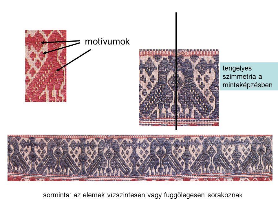 motívumok tengelyes szimmetria a mintaképzésben sorminta: az elemek vízszintesen vagy függőlegesen sorakoznak