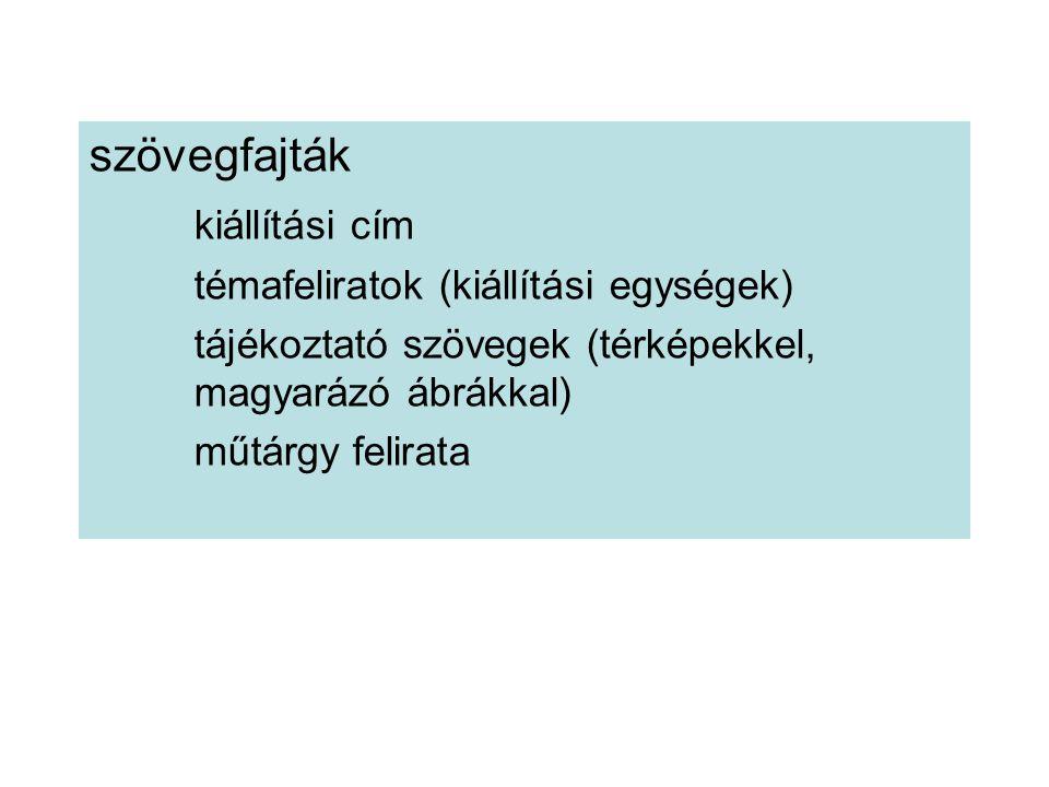 szövegfajták kiállítási cím témafeliratok (kiállítási egységek) tájékoztató szövegek (térképekkel, magyarázó ábrákkal) műtárgy felirata