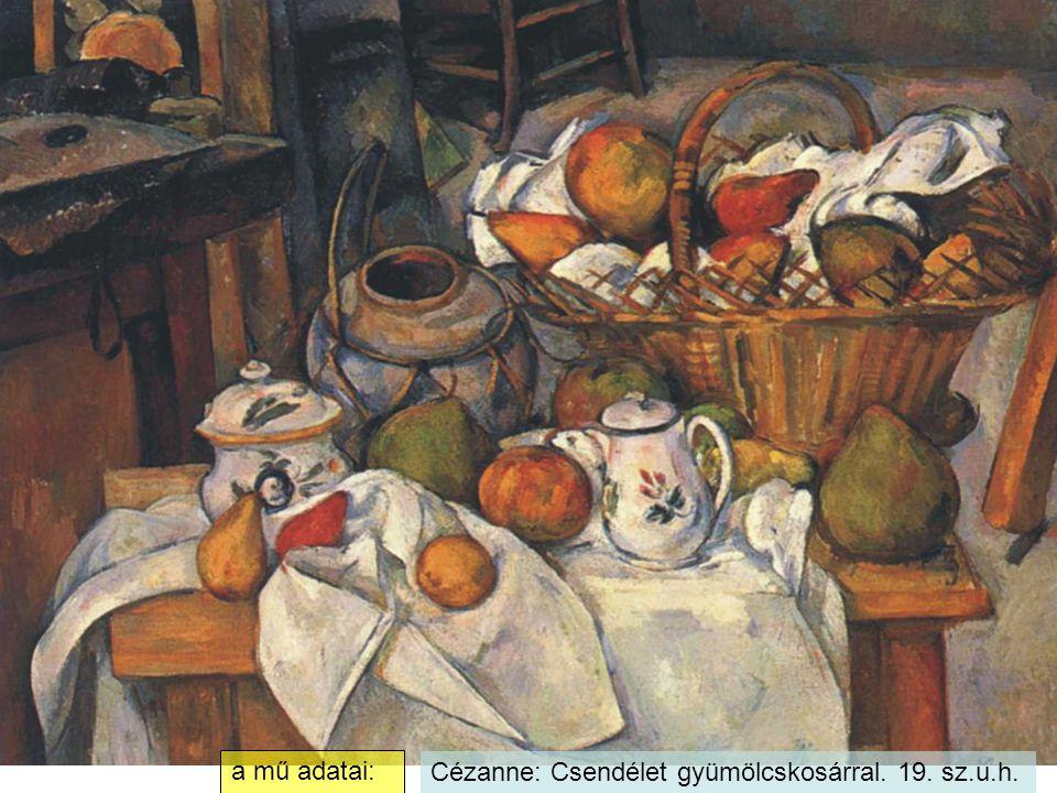 Cézanne: Csendélet gyümölcskosárral. 19. sz.u.h. a mű adatai: