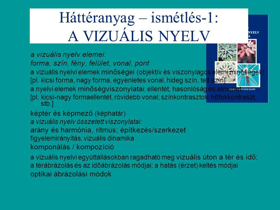 Háttéranyag – ismétlés-1: A VIZUÁLIS NYELV a vizuális nyelv elemei: forma, szín, fény, felület, vonal, pont a vizuális nyelvi elemek minõség ei (objek