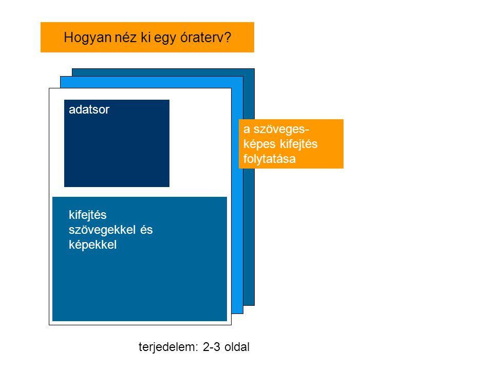 Hogyan néz ki egy óraterv? adatsor kifejtés szövegekkel és képekkel terjedelem: 2-3 oldal a szöveges- képes kifejtés folytatása