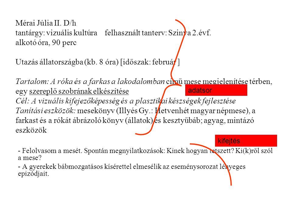 Mérai Júlia II. D/h tantárgy: vizuális kultúra felhasznált tanterv: Szinva 2.évf. alkotó óra, 90 perc Utazás állatországba (kb. 8 óra) [időszak: febru