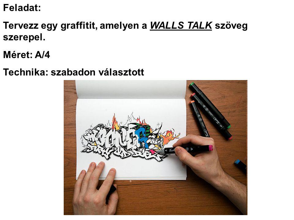 Feladat: Tervezz egy graffitit, amelyen a WALLS TALK szöveg szerepel. Méret: A/4 Technika: szabadon választott