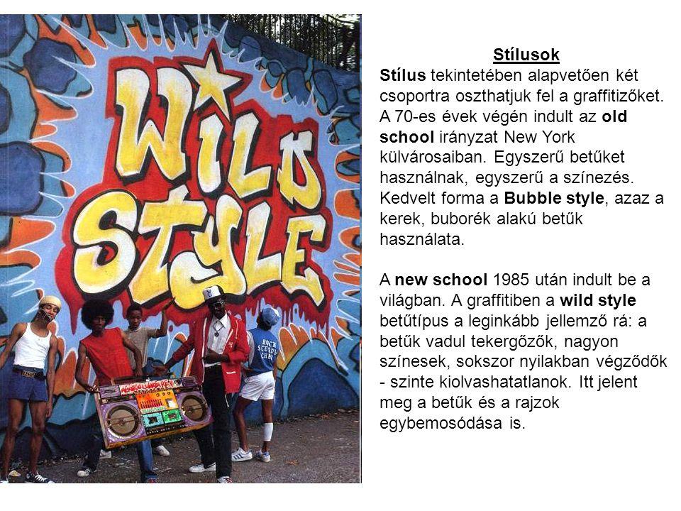 Stílusok Stílus tekintetében alapvetően két csoportra oszthatjuk fel a graffitizőket. A 70-es évek végén indult az old school irányzat New York külvár
