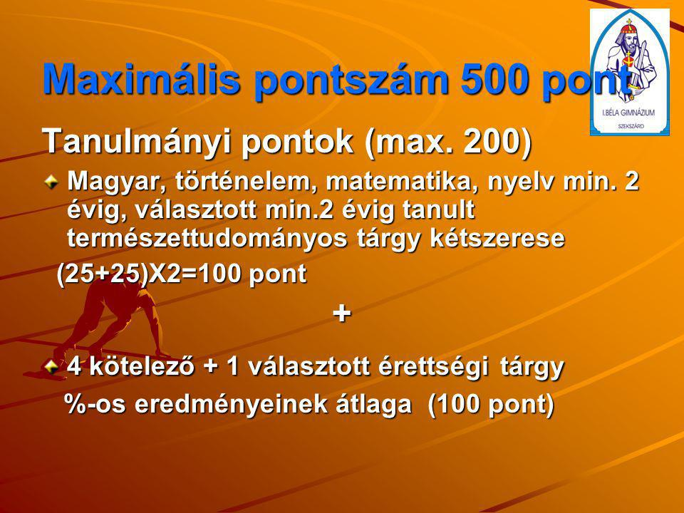 Maximális pontszám 500 pont Tanulmányi pontok (max. 200) Magyar, történelem, matematika, nyelv min. 2 évig, választott min.2 évig tanult természettudo