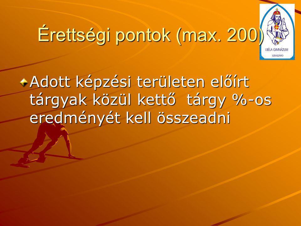 Érettségi pontok (max. 200) Adott képzési területen előírt tárgyak közül kettő tárgy %-os eredményét kell összeadni