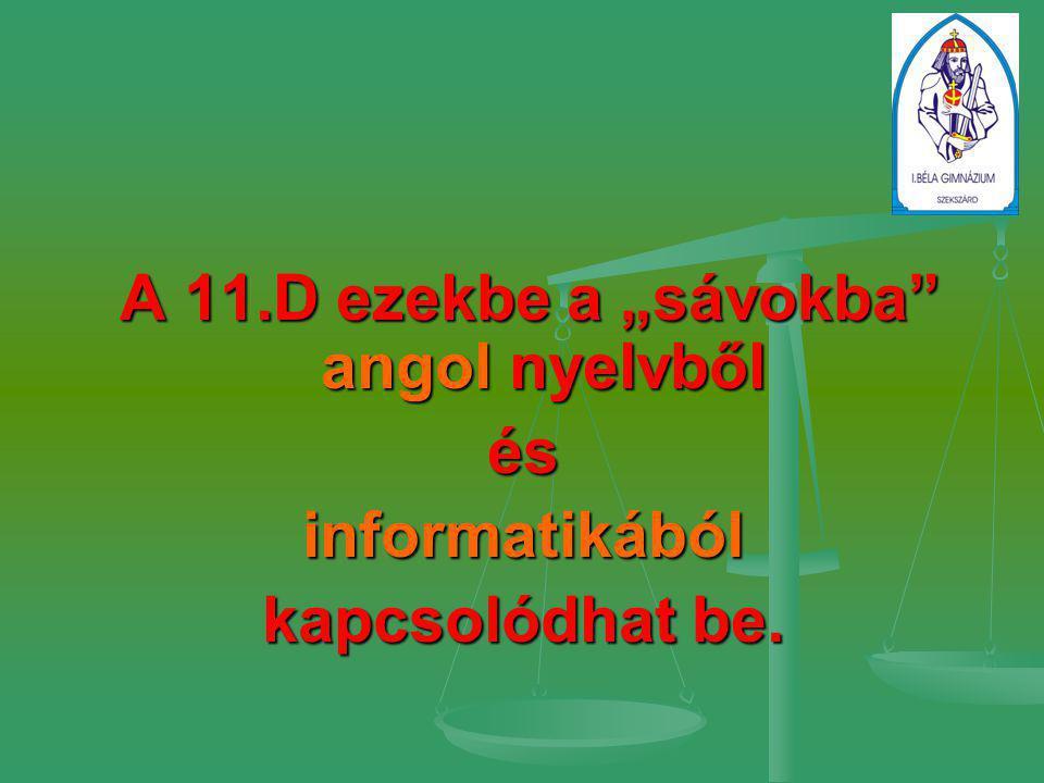 """A 11.D ezekbe a """"sávokba"""" angol nyelvből A 11.D ezekbe a """"sávokba"""" angol nyelvbőlésinformatikából kapcsolódhat be."""