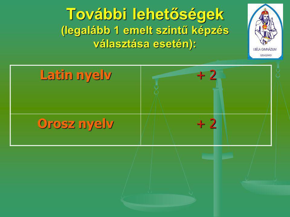 További lehetőségek (legalább 1 emelt szintű képzés választása esetén): Latin nyelv + 2 Orosz nyelv + 2