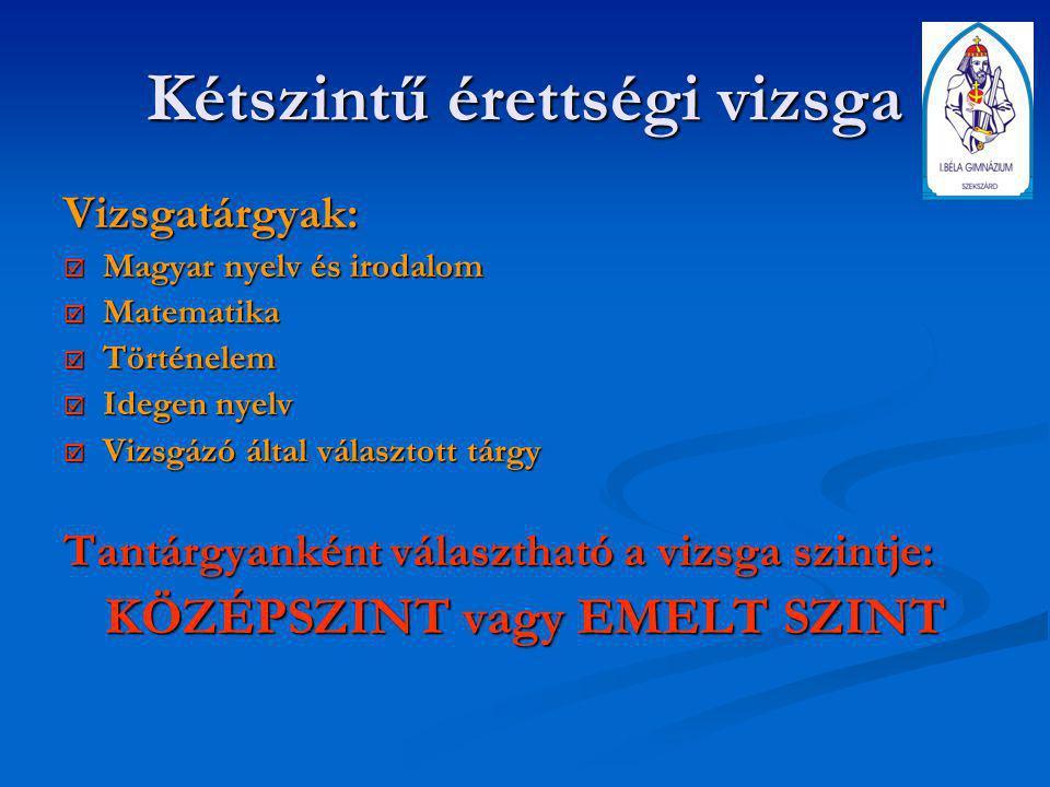 Kétszintű érettségi vizsga Vizsgatárgyak:  Magyar nyelv és irodalom  Matematika  Történelem  Idegen nyelv  Vizsgázó által választott tárgy Tantár