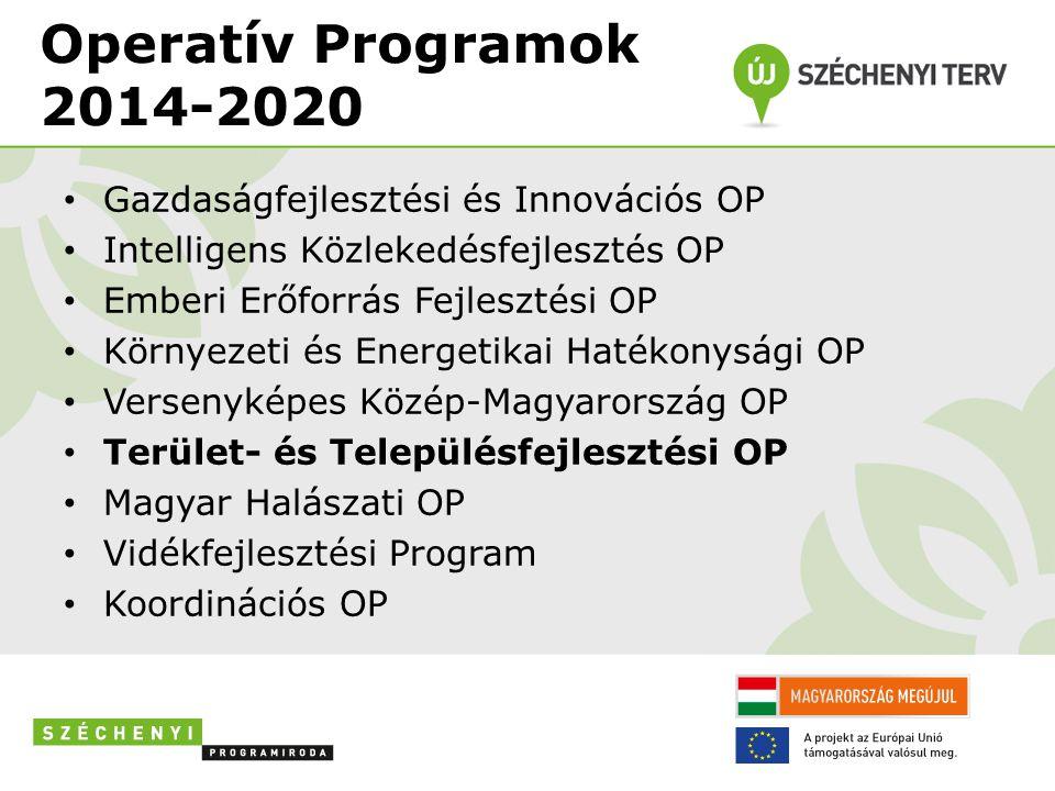 Operatív Programok 2014-2020 Gazdaságfejlesztési és Innovációs OP Intelligens Közlekedésfejlesztés OP Emberi Erőforrás Fejlesztési OP Környezeti és Energetikai Hatékonysági OP Versenyképes Közép-Magyarország OP Terület- és Településfejlesztési OP Magyar Halászati OP Vidékfejlesztési Program Koordinációs OP