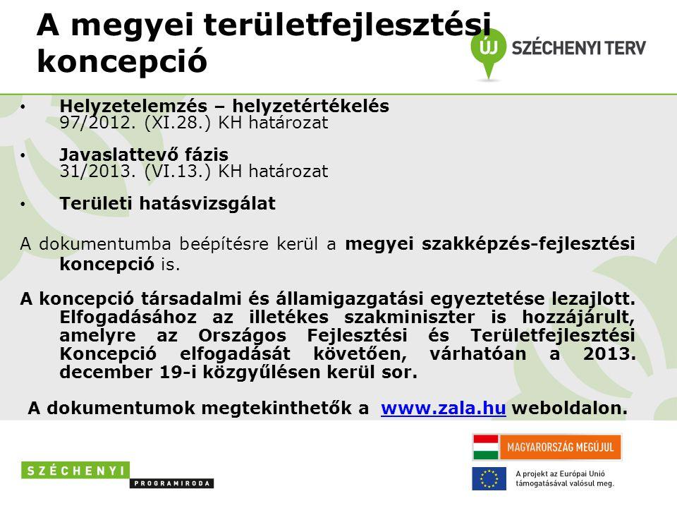 A megyei területfejlesztési koncepció Helyzetelemzés – helyzetértékelés 97/2012.