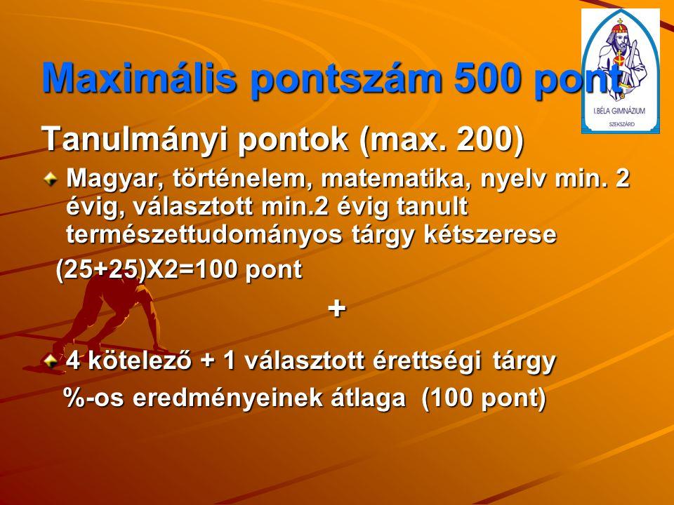 Maximális pontszám 500 pont Tanulmányi pontok (max.