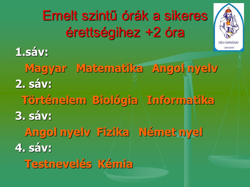 Emelt szintű órák a sikeres érettségihez +2 óra 1.sáv: Magyar Matematika Angol nyelv Magyar Matematika Angol nyelv 2.
