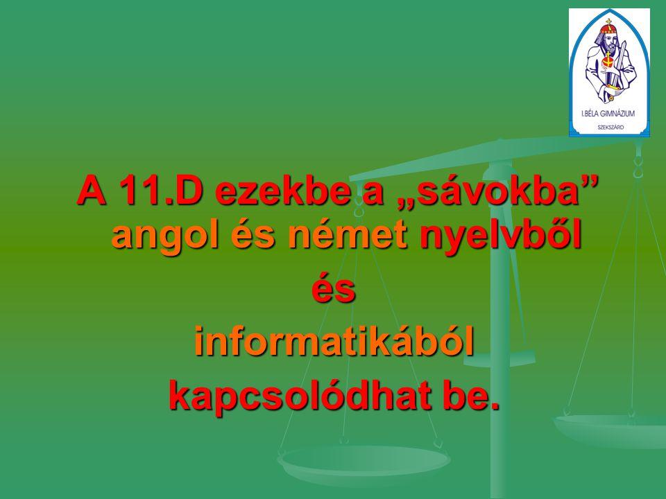 """A 11.D ezekbe a """"sávokba angol és német nyelvből A 11.D ezekbe a """"sávokba angol és német nyelvbőlésinformatikából kapcsolódhat be."""