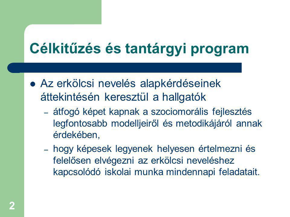 Irodalom Kötelező irodalom: – Pálvölgyi Ferenc: Az értékközpontú nevelés konstruktív rendszere I-IV.