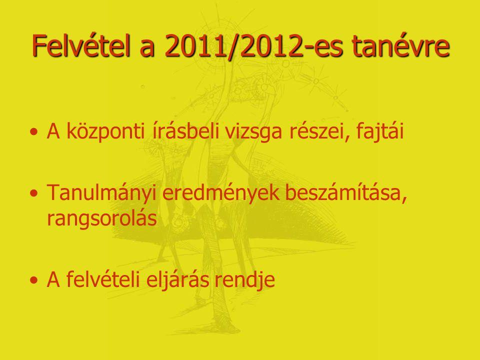 Felvételi tudnivalók Pályaválasztás a 2011-2012-es tanévben