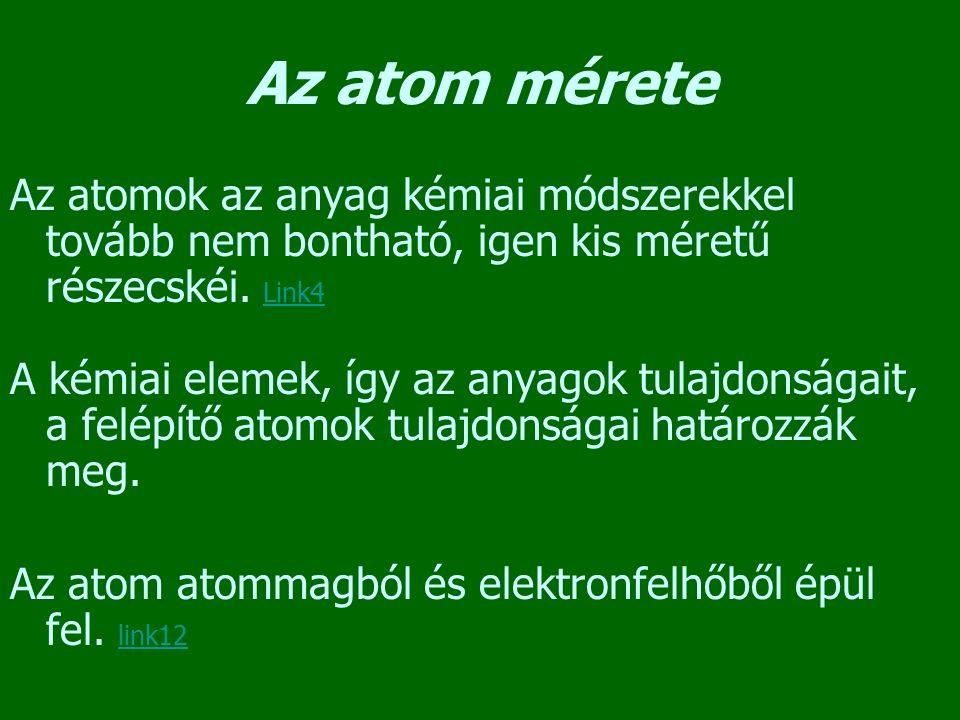 Az atom mérete Az atomok az anyag kémiai módszerekkel tovább nem bontható, igen kis méretű részecskéi. Link4 Link4 A kémiai elemek, így az anyagok tul