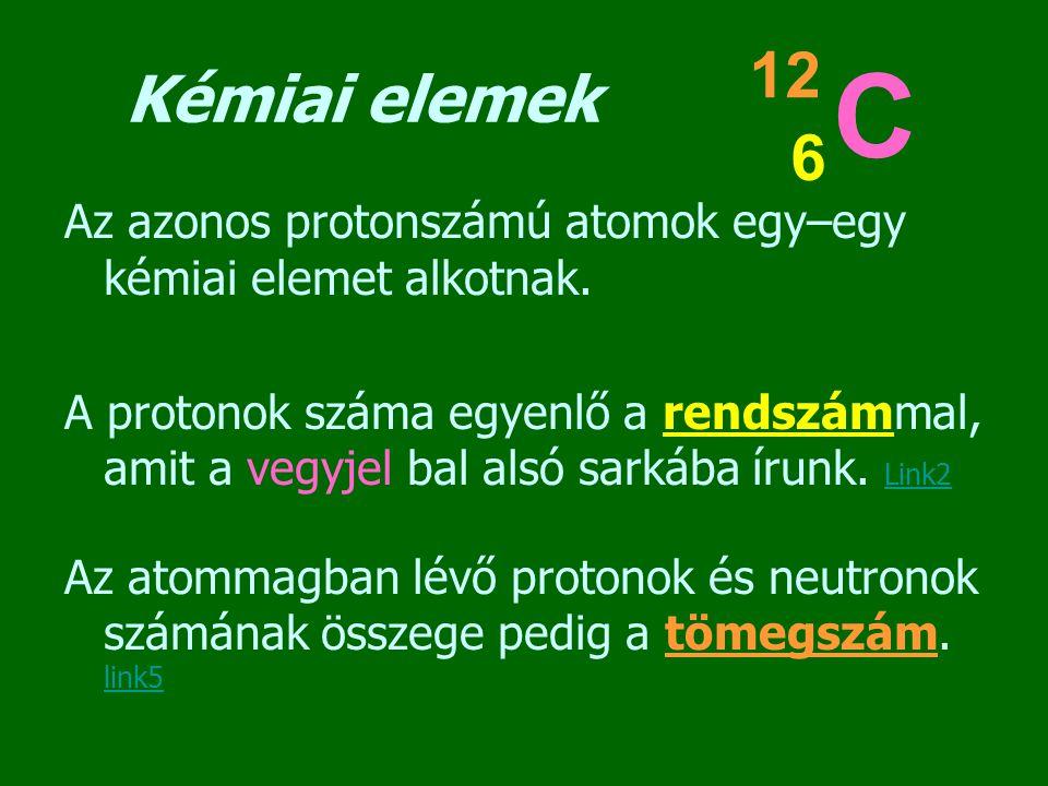 Kémiai elemek Az azonos protonszámú atomok egy–egy kémiai elemet alkotnak. A protonok száma egyenlő a rendszámmal, amit a vegyjel bal alsó sarkába íru