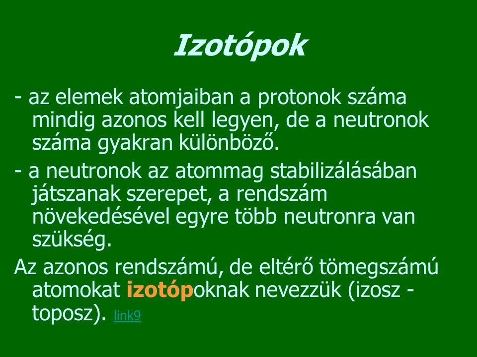 Izotópok - az elemek atomjaiban a protonok száma mindig azonos kell legyen, de a neutronok száma gyakran különböző. - a neutronok az atommag stabilizá