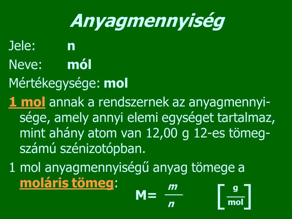 Anyagmennyiség Jele:n Neve:mól Mértékegysége: mol 1 mol annak a rendszernek az anyagmennyi- sége, amely annyi elemi egységet tartalmaz, mint ahány ato