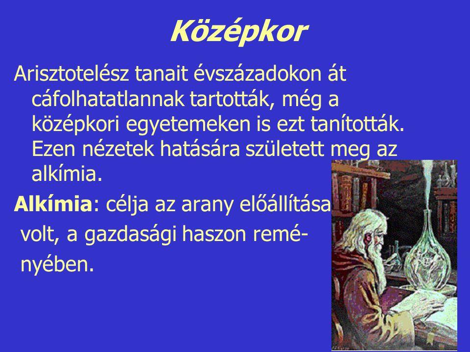 Középkor Arisztotelész tanait évszázadokon át cáfolhatatlannak tartották, még a középkori egyetemeken is ezt tanították. Ezen nézetek hatására születe