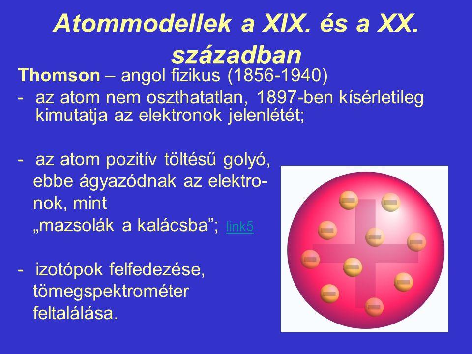 Atommodellek a XIX. és a XX. században Thomson – angol fizikus (1856-1940) -az atom nem oszthatatlan, 1897-ben kísérletileg kimutatja az elektronok je