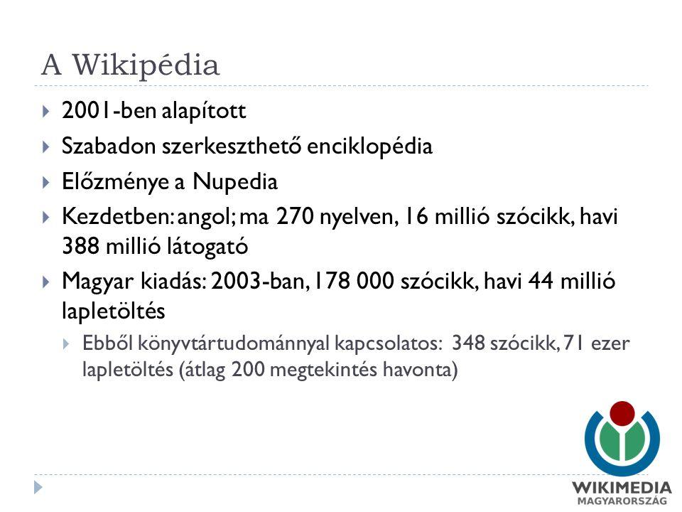 A Wikipédia  2001-ben alapított  Szabadon szerkeszthető enciklopédia  Előzménye a Nupedia  Kezdetben: angol; ma 270 nyelven, 16 millió szócikk, havi 388 millió látogató  Magyar kiadás: 2003-ban, 178 000 szócikk, havi 44 millió lapletöltés  Ebből könyvtártudománnyal kapcsolatos: 348 szócikk, 71 ezer lapletöltés (átlag 200 megtekintés havonta)