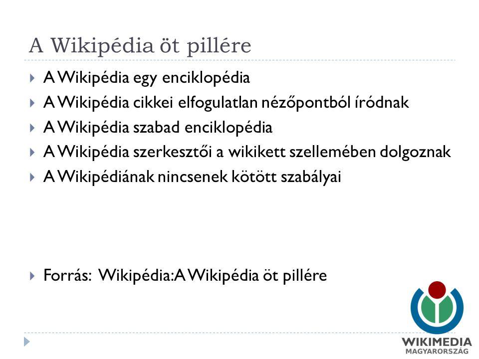 A Wikipédia öt pillére  A Wikipédia egy enciklopédia  A Wikipédia cikkei elfogulatlan nézőpontból íródnak  A Wikipédia szabad enciklopédia  A Wikipédia szerkesztői a wikikett szellemében dolgoznak  A Wikipédiának nincsenek kötött szabályai  Forrás: Wikipédia:A Wikipédia öt pillére