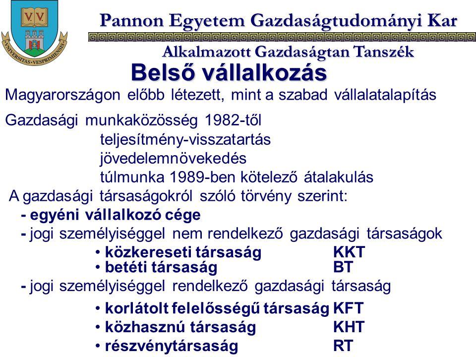 Pannon Egyetem Gazdaságtudományi Kar Alkalmazott Gazdaságtan Tanszék Belső vállalkozás Magyarországon előbb létezett, mint a szabad vállalatalapítás G