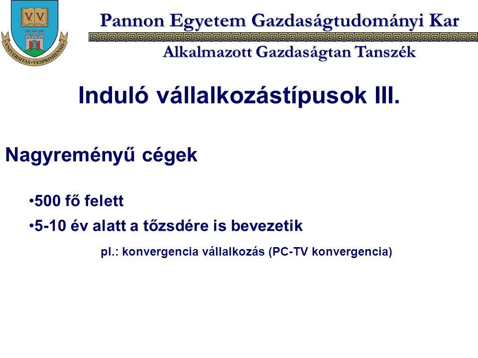 Pannon Egyetem Gazdaságtudományi Kar Alkalmazott Gazdaságtan Tanszék Nagyreményű cégek 500 fő felett 5-10 év alatt a tőzsdére is bevezetik pl.: konver